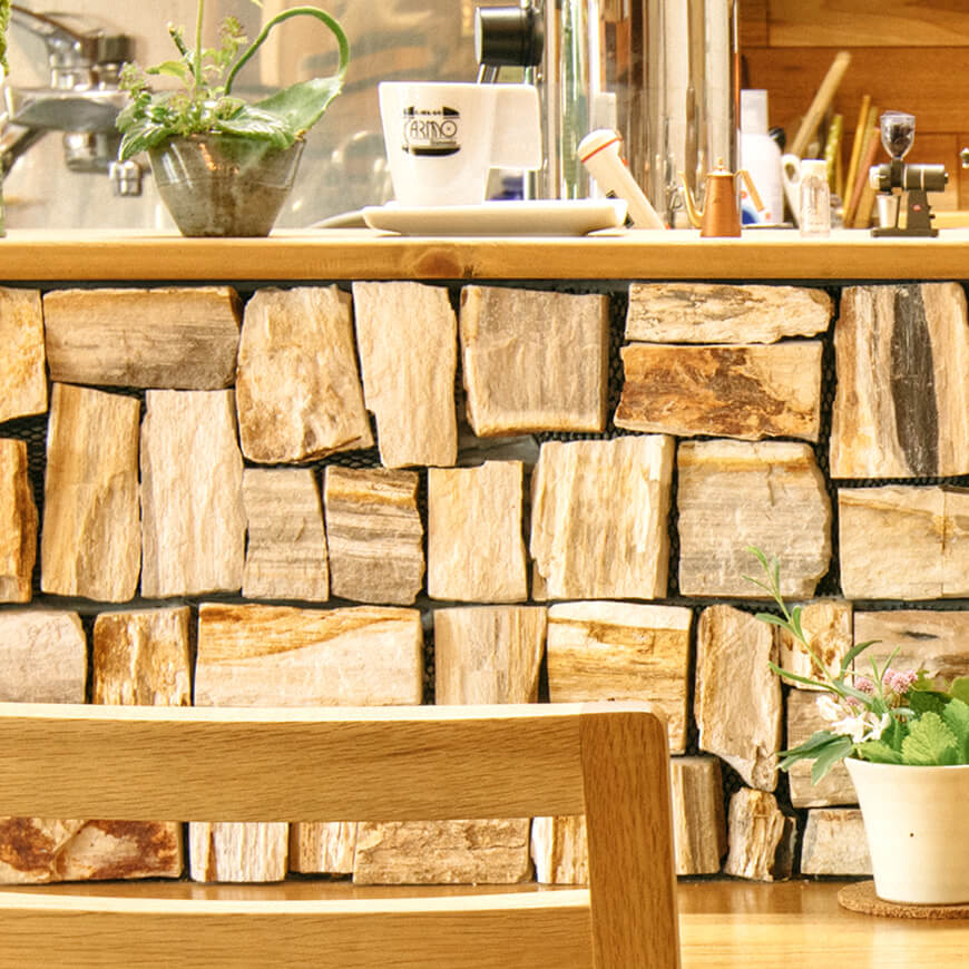MOPTOP施工事例 マダガスカルウッドストーン(木の化石)
